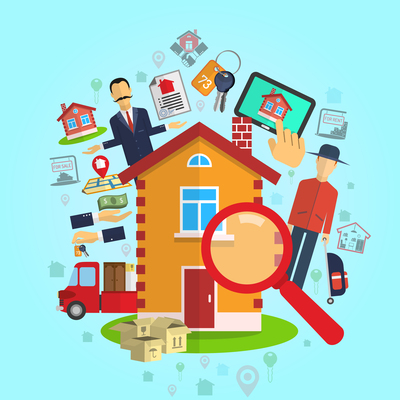 Real Estate Sale Rent Agency Concept On Blue Background Flat Vector Illustration